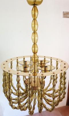 Venini Large Kaki Beige Murano Glass Chandelier Mid Century Modern Venini Style 1960s - 1530795