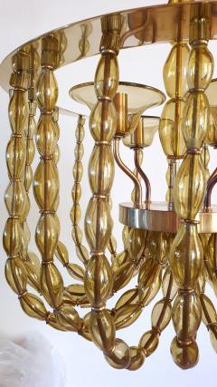 Venini Large Kaki Beige Murano Glass Chandelier Mid Century Modern Venini Style 1960s - 1530796