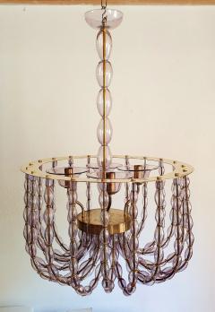 Venini Large Lilac Murano Glass Chandelier Mid Century Modern Venini Style 1960s - 1530530