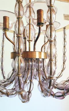 Venini Large Lilac Murano Glass Chandelier Mid Century Modern Venini Style 1960s - 1530531
