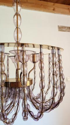 Venini Large Lilac Murano Glass Chandelier Mid Century Modern Venini Style 1960s - 1530532