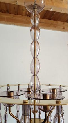Venini Large Lilac Murano Glass Chandelier Mid Century Modern Venini Style 1960s - 1530533