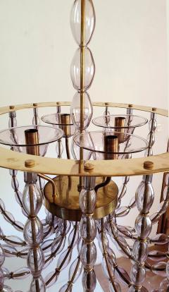 Venini Large Lilac Murano Glass Chandelier Mid Century Modern Venini Style 1960s - 1530534
