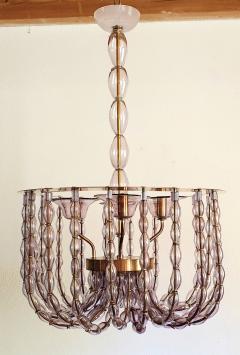 Venini Large Lilac Murano Glass Chandelier Mid Century Modern Venini Style 1960s - 1530587
