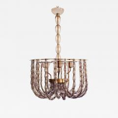 Venini Large Lilac Murano Glass Chandelier Mid Century Modern Venini Style 1960s - 1532126