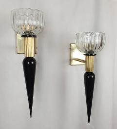 Venini Large Mid Century Modern Murano glass brass sconces Venini style Italy 1960s - 1961702