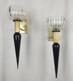 Venini Large Mid Century Modern Murano glass brass sconces Venini style Italy 1960s - 1961703