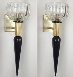 Venini Large Mid Century Modern Murano glass brass sconces Venini style Italy 1960s - 1961706