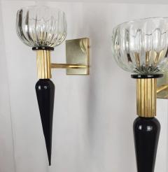 Venini Large Mid Century Modern Murano glass brass sconces Venini style Italy 1960s - 1961707