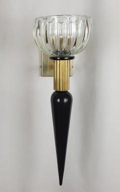 Venini Large Mid Century Modern Murano glass brass sconces Venini style Italy 1960s - 1961708