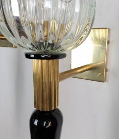 Venini Large Mid Century Modern Murano glass brass sconces Venini style Italy 1960s - 1961709