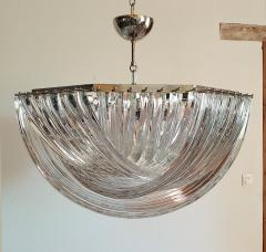 Venini Large Mid Century Modern Triedri Venini chandelier clear glass 2 available - 1351252