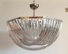 Venini Large Mid Century Modern Triedri Venini chandelier clear glass 2 available - 1351253