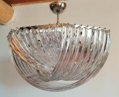 Venini Large Mid Century Modern Triedri Venini chandelier clear glass 2 available - 1351254
