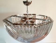 Venini Large Mid Century Modern Triedri Venini chandelier clear glass 2 available - 1351255