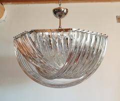 Venini Large Mid Century Modern Triedri Venini chandelier clear glass 2 available - 1351256