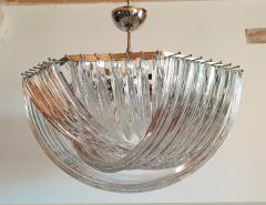 Venini Large Mid Century Modern Triedri Venini chandelier clear glass 2 available - 1351260