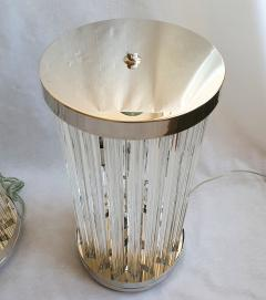Venini Mid Century Modern Clear Triedri Murano Glass Nickel Table Lamps Venini Italy - 1964088