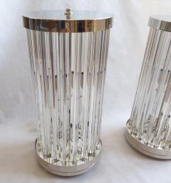 Venini Mid Century Modern Clear Triedri Murano Glass Nickel Table Lamps Venini Italy - 1964090
