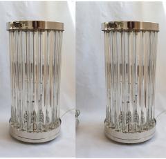 Venini Mid Century Modern Clear Triedri Murano Glass Nickel Table Lamps Venini Italy - 1964091