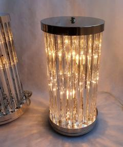 Venini Mid Century Modern Clear Triedri Murano Glass Nickel Table Lamps Venini Italy - 1964092