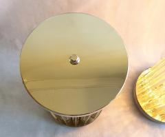 Venini Mid Century Modern Clear Triedri Murano Glass Nickel Table Lamps Venini Italy - 1964093