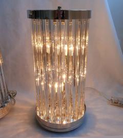 Venini Mid Century Modern Clear Triedri Murano Glass Nickel Table Lamps Venini Italy - 1964096