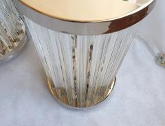 Venini Mid Century Modern Clear Triedri Murano Glass Nickel Table Lamps Venini Italy - 1964097