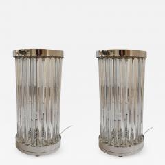 Venini Mid Century Modern Clear Triedri Murano Glass Nickel Table Lamps Venini Italy - 1966322