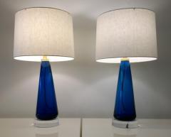 Venini Mid Century Modern Italian Signed Murano Glass w Lucite Bases Table Lamps - 964832