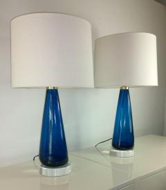 Venini Mid Century Modern Italian Signed Murano Glass w Lucite Bases Table Lamps - 964834