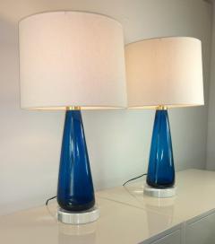 Venini Mid Century Modern Italian Signed Murano Glass w Lucite Bases Table Lamps - 964835