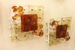 Venini Mid Century Modern Italian Venini Murano Clear Amber Glass Sconces a pair - 1734199