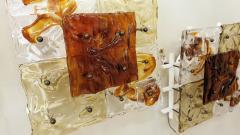 Venini Mid Century Modern Italian Venini Murano Clear Amber Glass Sconces a pair - 1734205