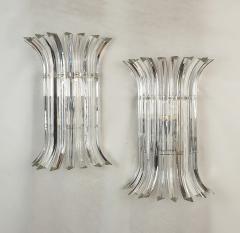 Venini Mid Century Modern Large clear Murano glass chrome sconces by Venini Italy - 2030813