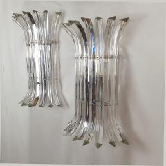 Venini Mid Century Modern Large clear Murano glass chrome sconces by Venini Italy - 2030814