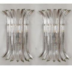 Venini Mid Century Modern Large clear Murano glass chrome sconces by Venini Italy - 2030817