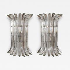 Venini Mid Century Modern Large clear Murano glass chrome sconces by Venini Italy - 2031662