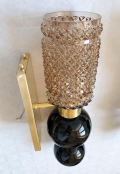 Venini Mid Century Venini style pairs of beige black Murano glass sconces Italy 1970s - 2086570