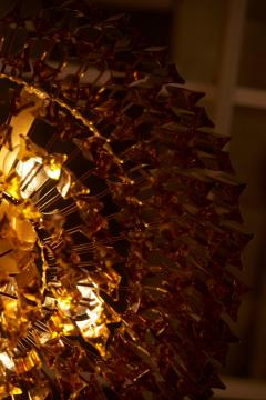 Venini Monumental Amber Murano Glass Chandelier or Flush Mount Attributed to Venini - 1101205