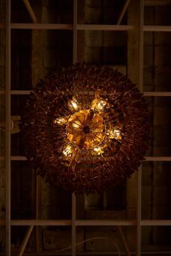 Venini Monumental Amber Murano Glass Chandelier or Flush Mount Attributed to Venini - 1101206