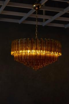 Venini Monumental Amber Murano Glass Chandelier or Flush Mount Attributed to Venini - 1101212