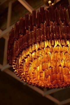 Venini Monumental Amber Murano Glass Chandelier or Flush Mount Attributed to Venini - 1101213