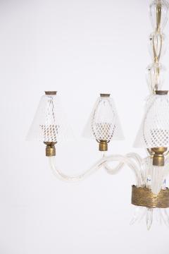 Venini Murano Glass Chandelier in Reticello Technique by Venini 1950s - 2054749