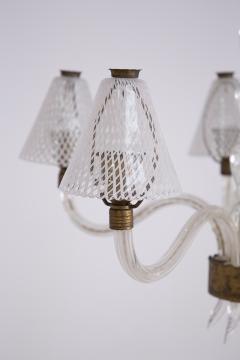 Venini Murano Glass Chandelier in Reticello Technique by Venini 1950s - 2054752