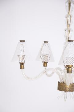 Venini Murano Glass Chandelier in Reticello Technique by Venini 1950s - 2054755