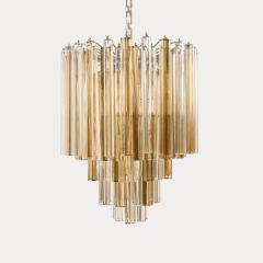 Venini Original Venini Tiered Amber Clear Glass Chandelier from Trilobo Series - 763329