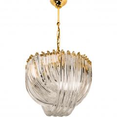 Venini Pair Of Impressive Venini Light Fixtures Curved Crystal Glass and Gilt Brass - 1039379
