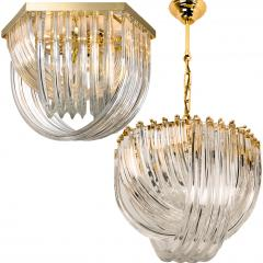 Venini Pair Of Impressive Venini Light Fixtures Curved Crystal Glass and Gilt Brass - 1039381