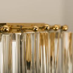 Venini Pair Of Impressive Venini Light Fixtures Curved Crystal Glass and Gilt Brass - 1039382